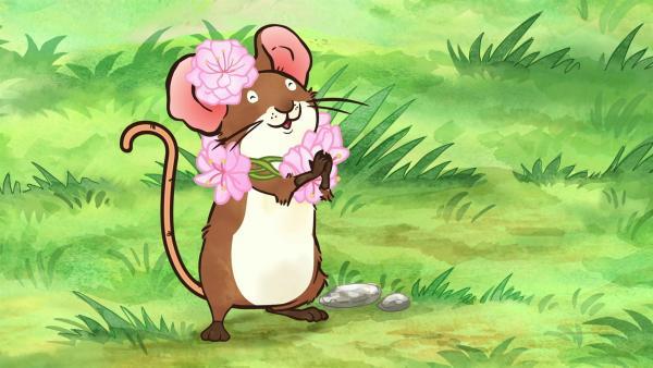 Auch die kleine Feldmaus ist ganz begeistert von all den Blüten.   Rechte: KiKA/SLR Productions Australia Pty.Ltd./Scrawl Studios Pte Ltd./hr/ARD