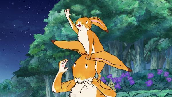 Der kleine braune Hase möchte unbedingt einmal einen Stern anfassen. | Rechte: KiKA/SLR Productions Australia Pty.Ltd./Scrawl Studios Pte Ltd./hr/ARD