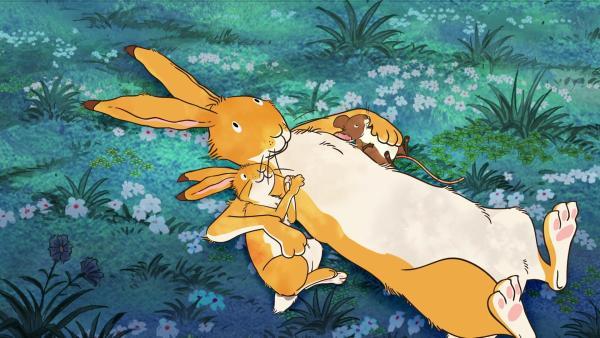 Großer brauner Hase, kleiner brauner Hase und die kleine Feldmaus betrachten den Sternenhimmel. | Rechte: KiKA/SLR Productions Australia Pty.Ltd./Scrawl Studios Pte Ltd./hr/ARD