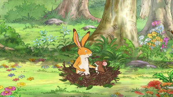 Nachdem der kleine braune Hase und die kleine Feldmaus ihr Nest gebaut haben, stellen sie fest, dass es ein wenig zu kratzig ist. | Rechte: KiKA/SLR Productions Australia Pty.Ltd./Scrawl Studios Pte Ltd./hr/ARD