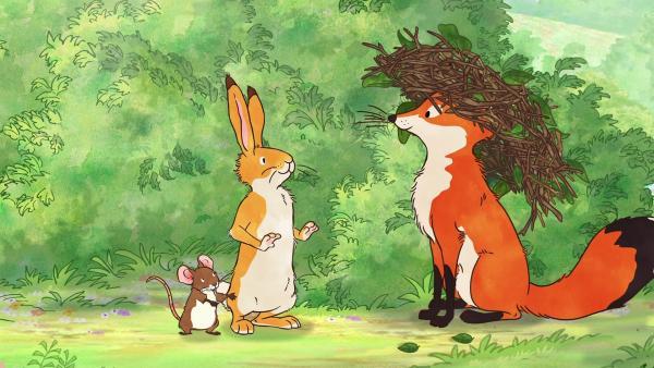 Wie wäre es mit einem Nest als Kopfschmuck für den Fuchs? | Rechte: KiKA/SLR Productions Australia Pty.Ltd./Scrawl Studios Pte Ltd./hr/ARD
