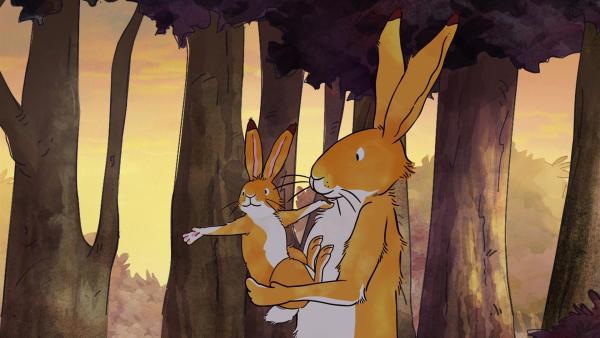 Der kleine braune Hase zeigt dem großen braunen Hasen, was er heute entdeckt hat. | Rechte: KiKA/SLR Productions Australia Pty.Ltd./Scrawl Studios Pte Ltd./hr/ARD
