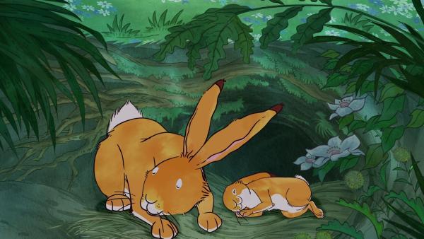 Der große Hase und der kleine Hase schlafen glücklich ein. | Rechte: KiKA/SLR Productions Australia Pty.Ltd./Scrawl Studios Pte Ltd./hr/ARD