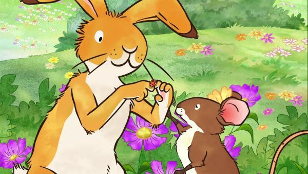 Der kleine braune Hase zeigt der kleinen Feldmaus den Marienkäfer, der bei ihm gelandet ist. | Rechte: KiKA/SLR Productions Australia Pty.Ltd./Scrawl Studios Pte Ltd./hr/ARD