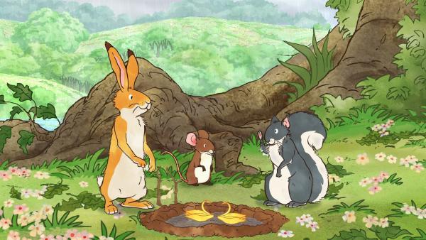 Der kleine braune Hase und seine Freunde haben eine Pfütze zu ihrem Spielplatz erkoren. | Rechte: KiKA/SLR Productions Australia Pty.Ltd./Scrawl Studios Pte Ltd./hr/ARD