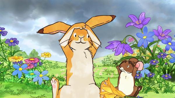 Der kleine braune Hase und die kleine Feldmaus genießen einen herrlich sonnigen und warmen Frühlingstag, als plötzlich dunkle Wolken über der Wiese aufziehen... | Rechte: KiKA/SLR Productions Australia Pty.Ltd./Scrawl Studios Pte Ltd./hr/ARD