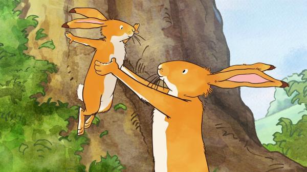 Der kleine und der große braune Hase freuen sich über den schönen Tag, den sie erlebt haben. | Rechte: KiKA/SLR Productions Australia Pty.Ltd./Scrawl Studios Pte Ltd./hr/ARD
