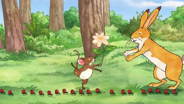 Der kleine braune Hase und die kleine Feldmaus staunen über die Ameisenstraße. | Rechte: KiKA/SLR Productions Australia Pty.Ltd./Scrawl Studios Pte Ltd./hr/ARD