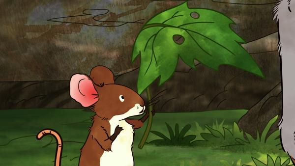 Die kleine Feldmaus möchte ihr löchriges Blatt wieder eintauschen. | Rechte: KiKA/SLR Productions Australia Pty.Ltd./Scrawl Studios Pte Ltd./hr/ARD