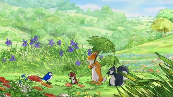 Der kleine braune Hase, die kleine Feldmaus und das Grauhörnchen können mit ihrem Blättern den Schatten überallhin mitnehmen. | Rechte: KiKA/SLR Productions Australia Pty.Ltd./Scrawl Studios Pte Ltd./hr/ARD