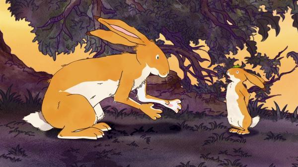 Der große braune Hase will dem kleinen Hasen zeigen, wie man mutig wird. | Rechte: KiKA/SLR Productions Australia Pty.Ltd./Scrawl Studios Pte Ltd./hr/ARD