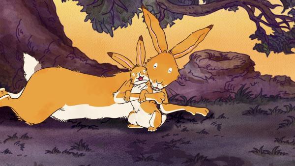 Der große braune Hase tröstet den kleinen Hasen und meint: Groß wird man von ganz allein und Mutigsein kann man lernen. | Rechte: KiKA/SLR Productions Australia Pty.Ltd./Scrawl Studios Pte Ltd./hr/ARD