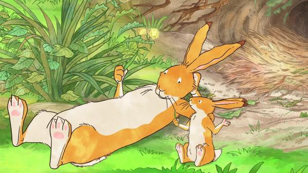 Der kleine braune Hase hat unendlich viele Fragen an den großen braunen Hasen.   Rechte: KiKA/SLR Productions Australia Pty.Ltd./Scrawl Studios Pte Ltd./hr/ARD