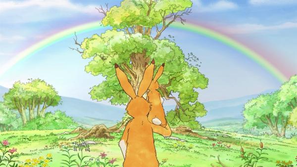 Nach dem Gewitter bestaunen die beiden Hasen einen großen Regenbogen.   Rechte: KiKA/SLR Productions Australia Pty.Ltd./Scrawl Studios Pte Ltd./hr/ARD