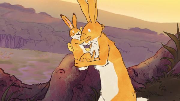 Der große und der kleine braune Hase beschließen den schönen Tag mit einem Gute-Nacht-Kuschel.   Rechte: KiKA/SLR Productions Australia Pty.Ltd./Scrawl Studios Pte Ltd./hr/ARD