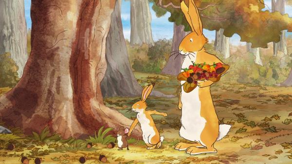Der kleine braune Hase, die kleine Feldmaus und der große braune Hasen sammeln herbstliche Früchte im Wald. | Rechte: KiKA/SLR Productions Australia Pty.Ltd./Scrawl Studios Pte Ltd./hr/ARD