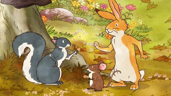 Das graue Eichhörnchen, die kleine Feldmaus und der kleine braune Hase finden Ahornsamen. | Rechte: KiKA/SLR Productions Australia Pty.Ltd./Scrawl Studios Pte Ltd./hr/ARD