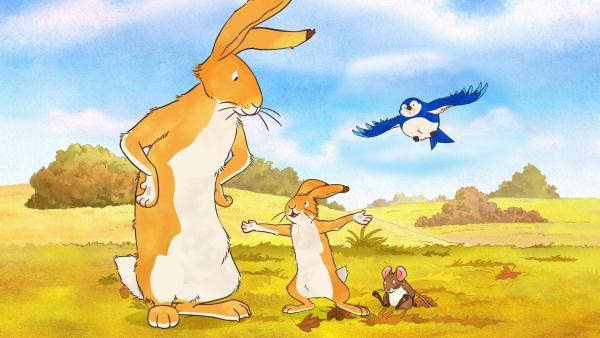 Der kleine braune Hase möchte wie ein Vogel fliegen können. Aber Hasen können nun mal nicht fliegen. Das sagt zumindest der große braune Hase. | Rechte: KiKA/SLR Productions Australia Pty.Ltd./Scrawl Studios Pte Ltd./hr/ARD