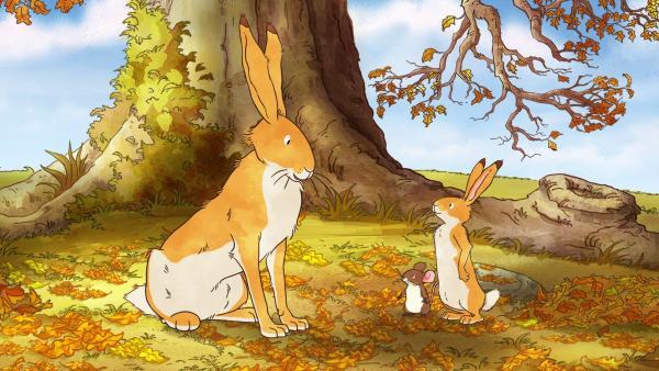 Der große und der kleine braune Hase und die kleine Feldmaus an einem Herbsttag | Rechte: KiKA/SLR Productions Australia Pty.Ltd./Scrawl Studios Pte Ltd./hr/ARD