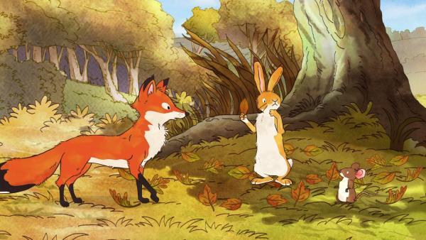 Der kleine braune Hase hat aus Versehen beiden Freundinnen – der kleinen Rotfüchsin und der kleinen Feldmaus – versprochen, mit ihnen zu spielen. | Rechte: KiKA/SLR Productions Australia Pty.Ltd./Scrawl Studios Pte Ltd./hr/ARD