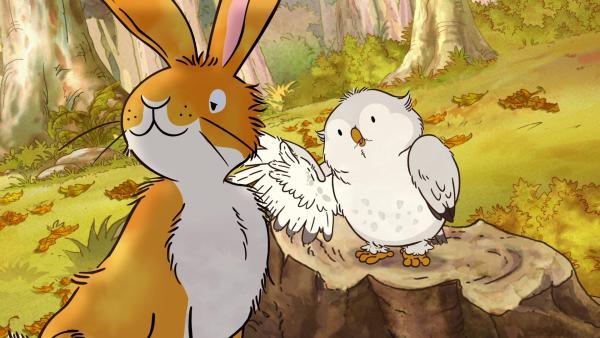 Die kleine Weißeule erzählt dem kleinen braunen Hasen von einem gruseligen Wesen, das auf der Wiese auftaucht.  | Rechte: KiKA/SLR Productions Australia Pty.Ltd./Scrawl Studios Pte Ltd./hr/ARD