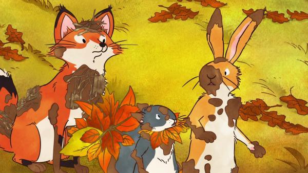 Der kleine braune Hase als Matsch-Wesen, das kleine Grauhörnchen als Blätter-Wesen und die kleine Rotfüchsin als Zweig-Wesen. | Rechte: KiKA/SLR Productions Australia Pty.Ltd./Scrawl Studios Pte Ltd./hr/ARD