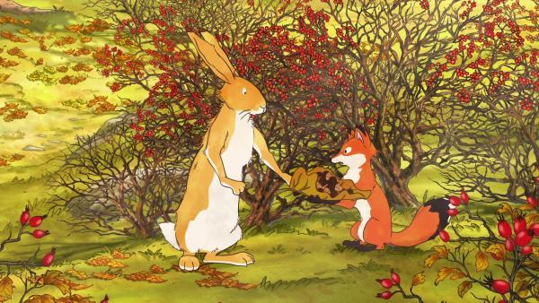 Der große braune Hase gibt der kleinen Rotfüchsin die Eicheln.   Rechte: KiKA/SLR Productions Australia Pty.Ltd./Scrawl Studios Pte Ltd./hr/ARD