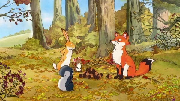 Die kleine Rotfüchsin gibt dem kleinen Grauhörnchen, dem kleinen braunen Hasen und der kleinen Feldmaus die Eicheln.   Rechte: KiKA/SLR Productions Australia Pty.Ltd./Scrawl Studios Pte Ltd./hr/ARD