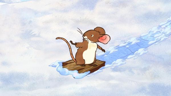 Die kleine Feldmaus spielt gern im Schnee. | Rechte: KiKA/SLR Productions Australia Pty.Ltd./Scrawl Studios Pte Ltd./hr/ARD