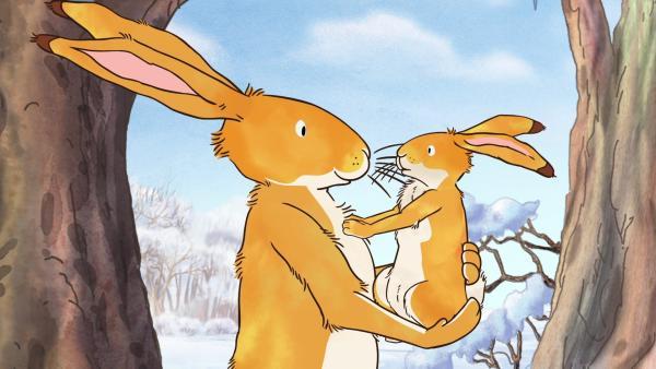 Der große braune Hase erklärt dem kleinen braunen Hasen, dass Rehe scheu sind. | Rechte: KiKA/SLR Productions Australia Pty.Ltd./Scrawl Studios Pte Ltd./hr/ARD