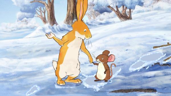 Gemeinsam mit der kleinen Feldmaus macht sich der kleine braune Hase auf die Suche nach dem kleinen Reh.   Rechte: KiKA/SLR Productions Australia Pty.Ltd./Scrawl Studios Pte Ltd./hr/ARD