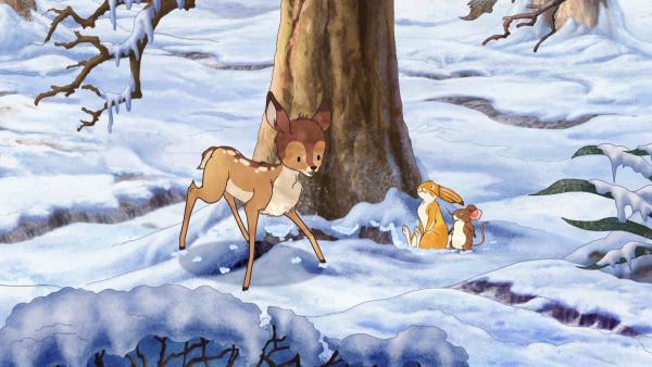 Der kleine braune Hase und die kleine Feldmaus haben das kleine scheue Reh tatsächlich gefunden. | Rechte: KiKA/SLR Productions Australia Pty.Ltd./Scrawl Studios Pte Ltd./hr/ARD