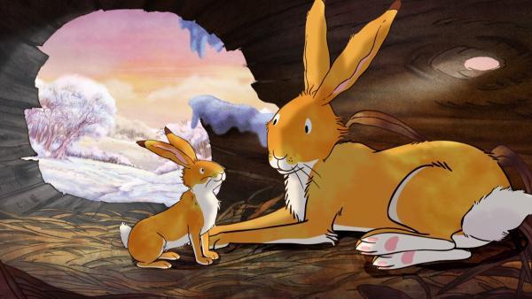 Der kleine braune Hase erzählt dem großen braunen Hasen von seinem neuen Freund.   Rechte: KiKA/SLR Productions Australia Pty.Ltd./Scrawl Studios Pte Ltd./hr/ARD