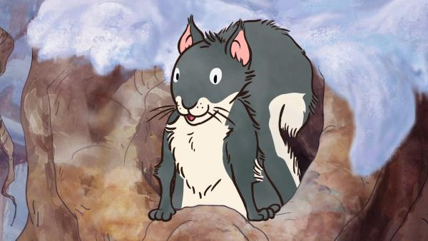 Das kleine Grauhörnchen soll zum Spielen mitkommen, aber es möchte seine kuschelige Baumhöhle nicht vor dem Frühling verlassen. | Rechte: KiKA/SLR Productions Australia Pty.Ltd./Scrawl Studios Pte Ltd./hr/ARD