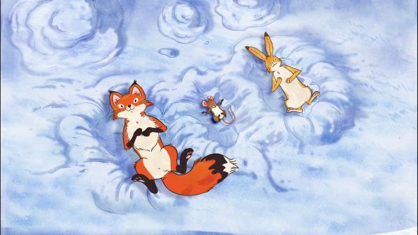 Die kleine Rotfüchsin, die kleine Feldmaus und der kleine braune Hase liegen in Schneekuhlen und blicken in den winterlichen Himmel. | Rechte: KiKA/SLR Productions Australia Pty.Ltd./Scrawl Studios Pte Ltd./hr/ARD