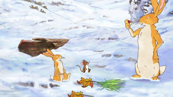 Die beiden Hasen und die kleine Feldmaus finden in mit Hilfe des Stocks den versteckten Essensvorrat. | Rechte: KiKA/SLR Productions Australia Pty.Ltd./Scrawl Studios Pte Ltd./hr/ARD
