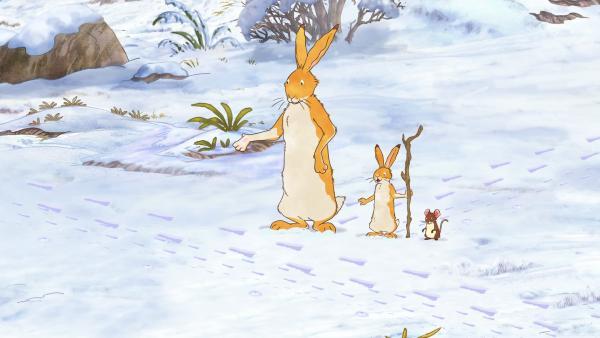Der Stock erweist sich in der Tat als sehr hilfreich. Er ist als Wanderstock und Spurenleger im Schnee dienlich. | Rechte: KiKA/SLR Productions Australia Pty.Ltd./Scrawl Studios Pte Ltd./hr/ARD