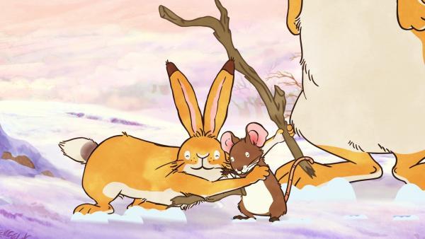 Der kleine braune Hase ist froh, dass sein Glücksstock wieder gefunden wurde. | Rechte: KiKA/SLR Productions Australia Pty.Ltd./Scrawl Studios Pte Ltd./hr/ARD