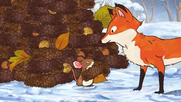 Die kleine Rotfüchsin ist begeistert vom großen Tannenzapfenbaum, den ihre Freunde gebaut haben.   Rechte: KiKA/SLR Productions Australia Pty.Ltd./Scrawl Studios Pte Ltd./hr/ARD