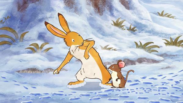 Der kleine braune Hase hat die kleine Feldmaus beim Versteckenspielen schon gefunden. Wo haben sich seine anderen Freunde wohl versteckt?   Rechte: KiKA/SLR Productions Australia Pty.Ltd./Scrawl Studios Pte Ltd./hr/ARD