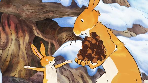 Der kleine braune Hase erzählt dem großen braunen Hasen vom neuen Versteckspiel.   Rechte: KiKA/SLR Productions Australia Pty.Ltd./Scrawl Studios Pte Ltd./hr/ARD