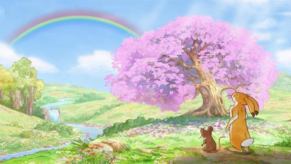 Der kleine Hase und die kleine Feldmaus sehen einen wunderschönen Regenbogen. | Rechte: KiKA/SLR Productions Australia Pty.Ltd./Scrawl Studios Pte Ltd./hr/ARD