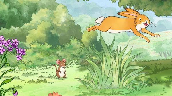 Der kleine Hase und die kleine Feldmaus entdecken beim Spielen auf der Wiese einen ganz besonderen Baum. | Rechte: KiKA/SLR Productions Australia Pty.Ltd./Scrawl Studios Pte Ltd./hr/ARD