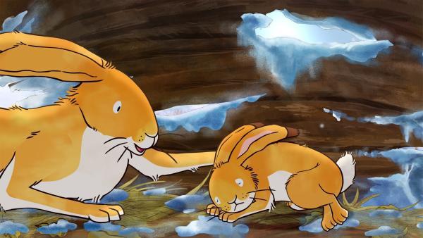 An diesem verschneiten Wintertag ist der große Hase ausnahmsweise mal vor dem kleinen Hasen auf den Beinen. Er muss zu Otter, der seine Hilfe benötigt.  | Rechte: KiKA/SLR Productions Australia Pty.Ltd./Scrawl Studios Pte Ltd./hr/ARD