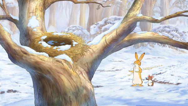 Der kleine Hase und die kleine Feldmaus möchten mit ihren Freunden im Schnee spielen, aber es ist niemand zu sehen.   Rechte: KiKA/SLR Productions Australia Pty.Ltd./Scrawl Studios Pte Ltd./hr/ARD