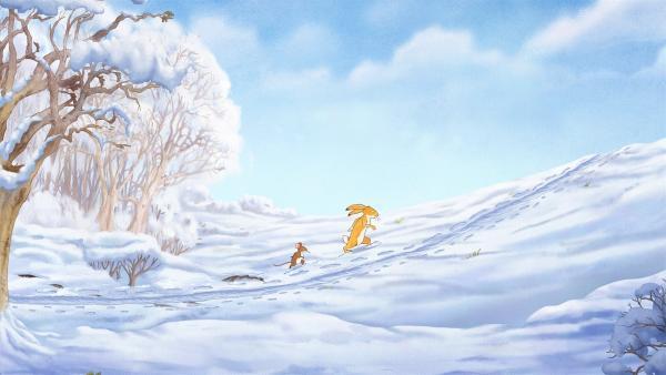 Der kleine Hase und die kleine Feldmaus folgen der Spur im Schnee.   Rechte: KiKA/SLR Productions Australia Pty.Ltd./Scrawl Studios Pte Ltd./hr/ARD