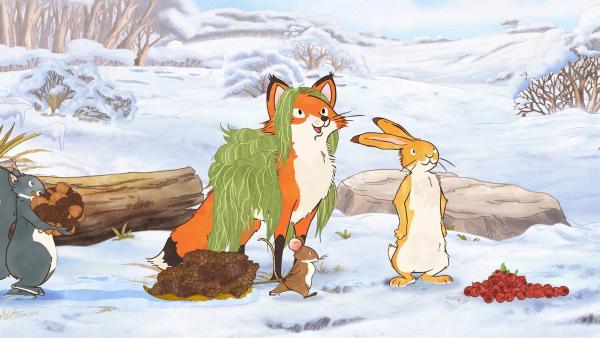 Der kleine Hase und seine Freunde sammeln bunte Dinge, mit denen sie die große Eiche für ihre Feier dekorieren können. | Rechte: KiKA/SLR Productions Australia Pty.Ltd./Scrawl Studios Pte Ltd./hr/ARD