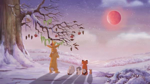 Der kleine Hase, die kleine Feldmaus, das kleine Grauhörnchen, die kleine Rotfüchsin und die kleine Weißeule sehen zusammen mit dem großen Hasen unter der festlich geschmückten Eiche zu, wie der Mond aufgeht. | Rechte: KiKA/SLR Productions Australia Pty.Ltd./Scrawl Studios Pte Ltd./hr/ARD
