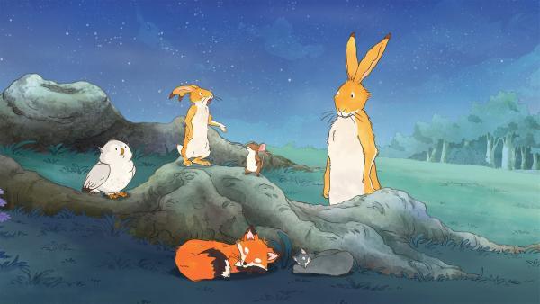Der kleine Hase will mit seinen Freunde die ganze schöne Sommernacht lang wach bleiben.   Rechte: KiKA/SLR Productions Australia Pty.Ltd./Scrawl Studios Pte Ltd./hr/ARD