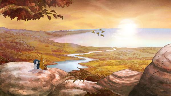 Der kleine Hase und seine Freunde sehen, wie sich die Zugvögel sammeln, um nach Süden zu fliegen. | Rechte: KiKA/SLR Productions Australia Pty.Ltd./Scrawl Studios Pte Ltd./hr/ARD